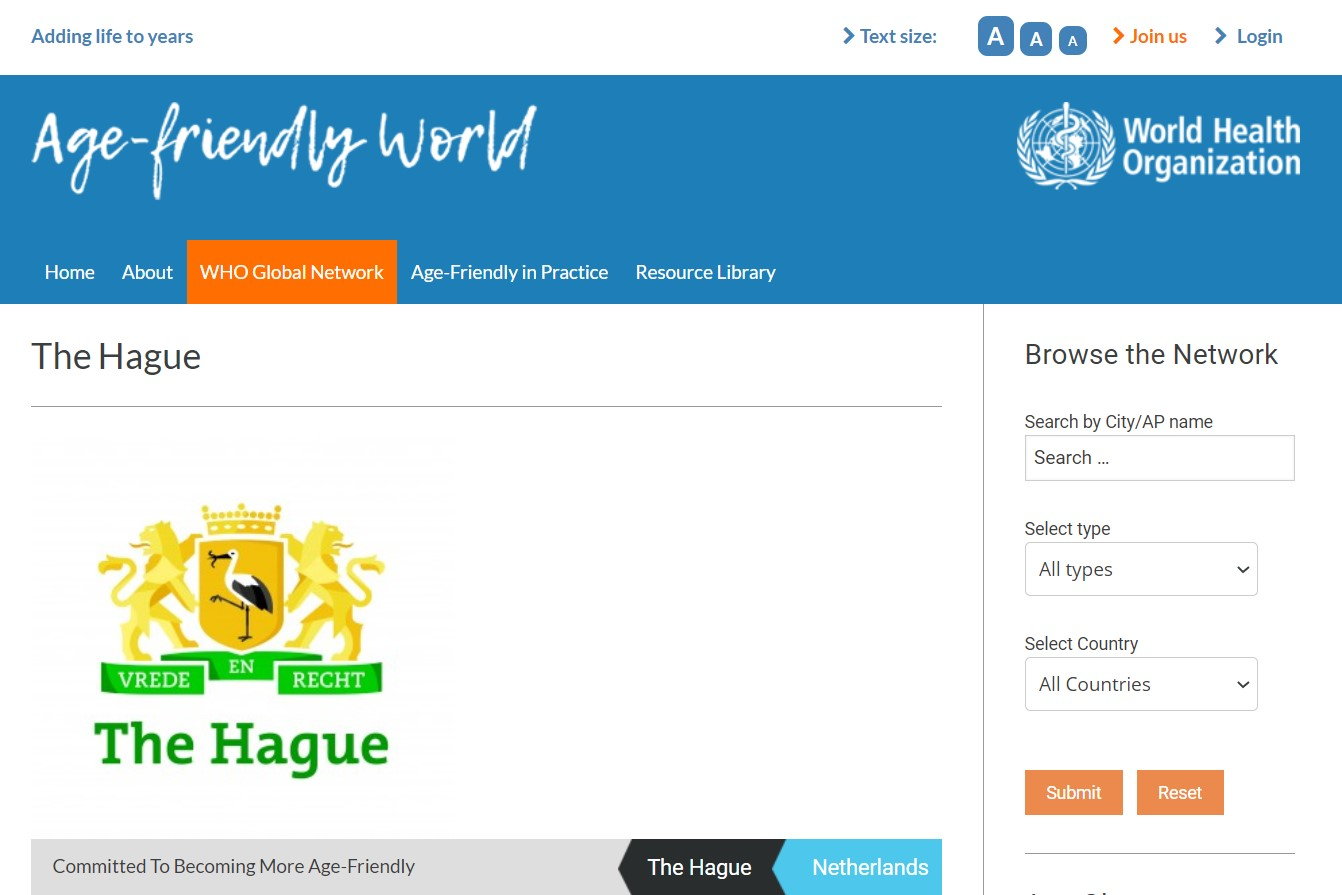 A study visit to age-friendly city The Hague presented on WHO Global Network Age-friendly World. 2020.MAR.31 (EN)